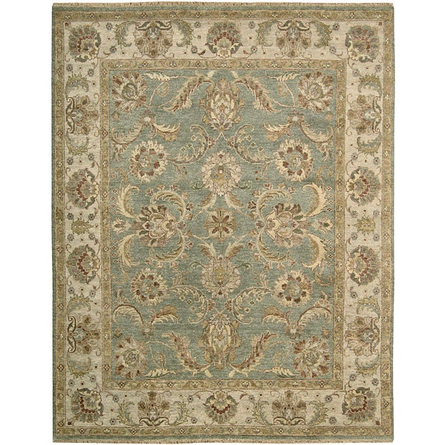 Nourison Hand-knotted Tajik Green/ Beige Wool Rug (7'9 x 9'9)
