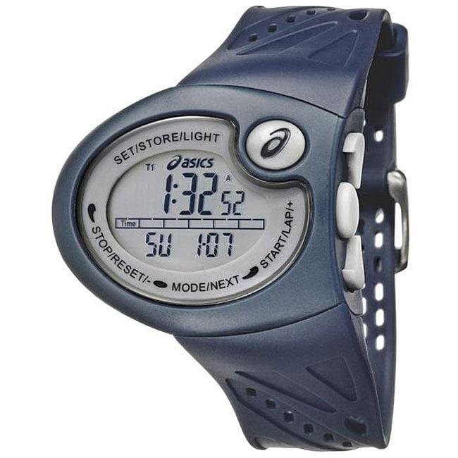 Asics Men's 'Active Running' Blue Rubber Strap Watch