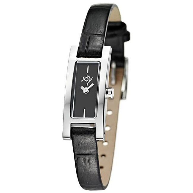 Joy Women's Rectangulares Tamano Black Strap Watch