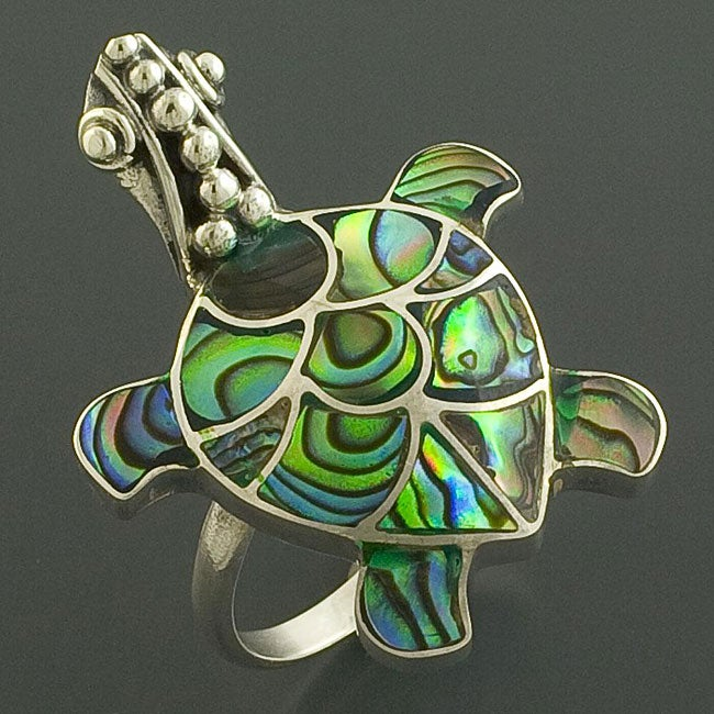 Sterling Silver Rainbow Abalone Turtle Ring (Indonesia)