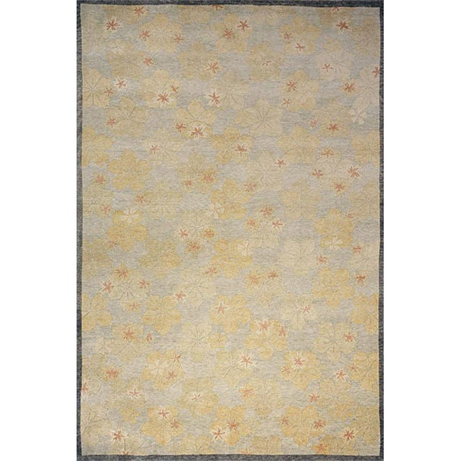 Hand-knotted Lotus Slate Oriental Wool Rug (5'6 x 8'6)