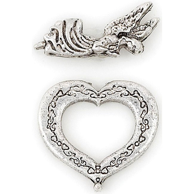 Blue Moon Manor House Silver Heart/ Angel Toggle Clasps (Set of 8)