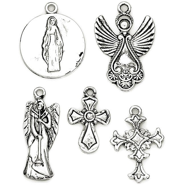 Blue Moon Antique Silver Spiritual Tokens Metal Charm (Package of 5)