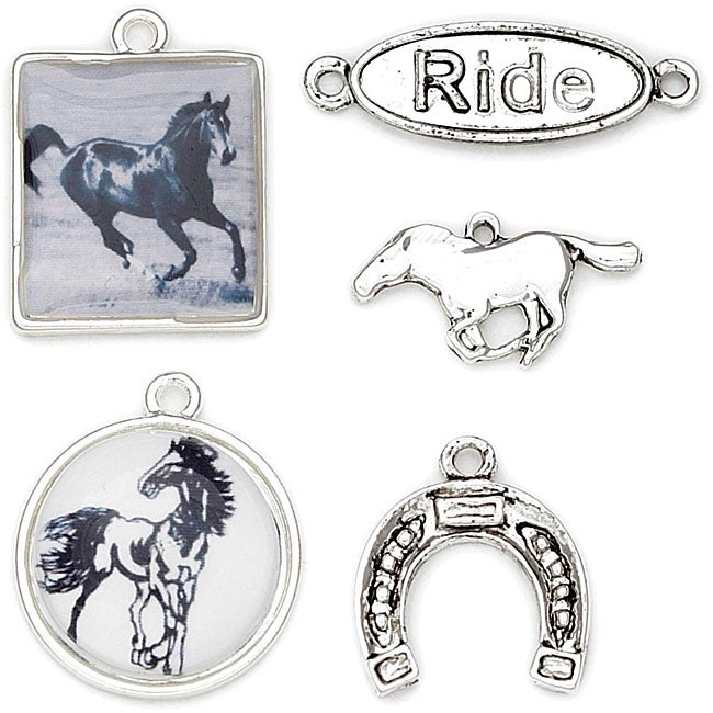 Blue Moon Tokens 'Antique Silver Horse' Metal Charms (Pack of 5)