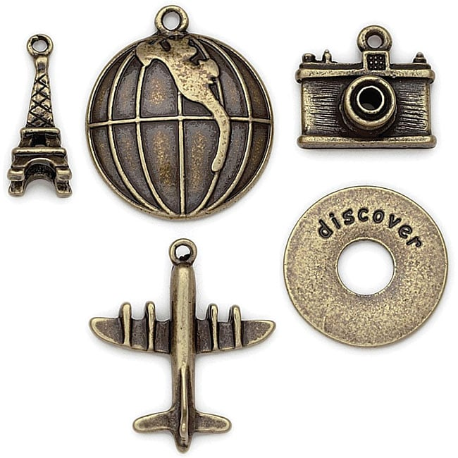 Blue Moon Tokens Metal Ox Brass Travel Charms (Pack of 5)