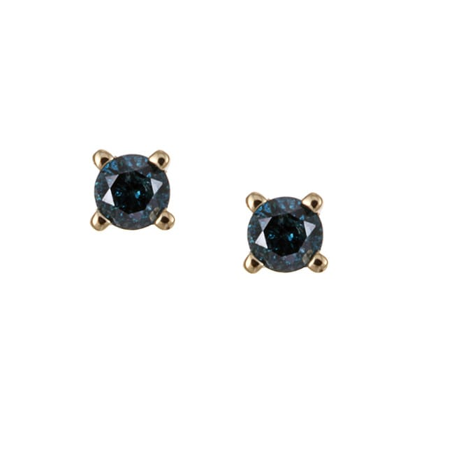 Unending Love 10k Yellow Gold 1/8ct TDW Blue Diamond Stud Earrings