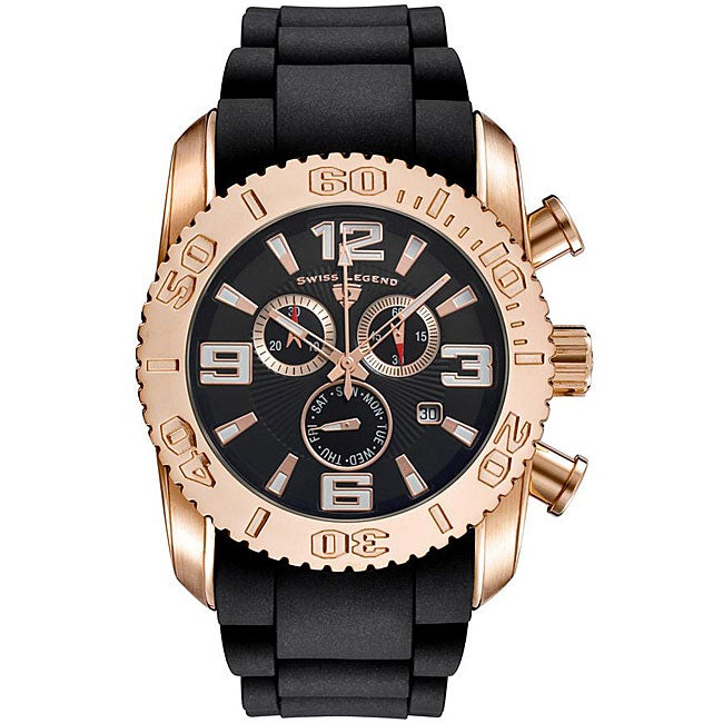 Swiss Legend Men's Commander Rose Gold Black Strap Chronograph Watch