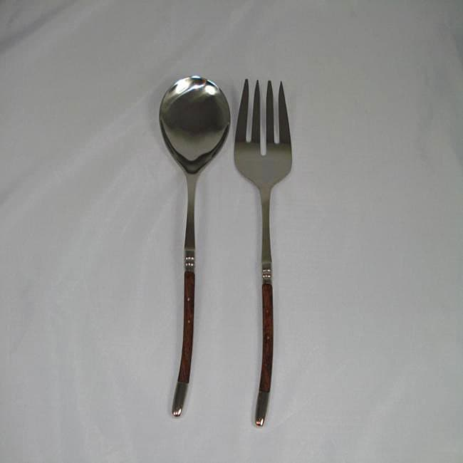 Stainless Steel 2-piece Curved Wood Serving Set (India)