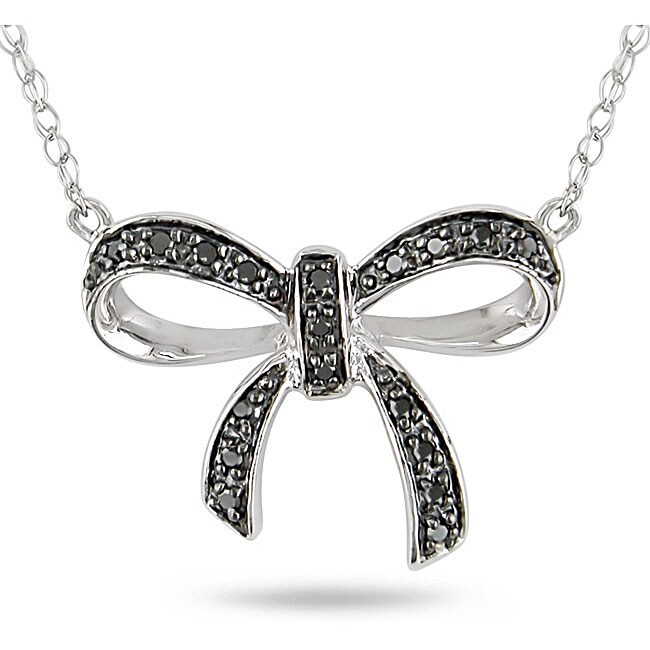 Black Flower Bow With Diamond: 10k White Gold Black Diamond Accent Bow Necklace