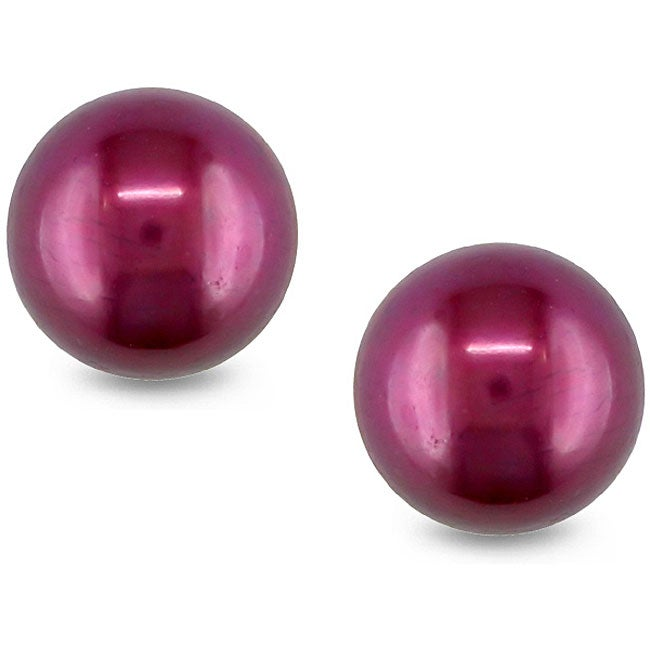 Miadora Sterling Silver Cranberry Freshwater Pearl Stud Earrings (9-10 mm)