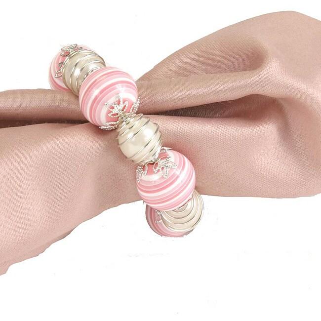 Pink Silver Napkin Rings Set Of 6 12749712