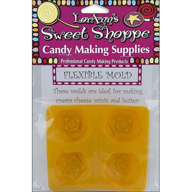 Lorann Oils Sweet Shoppe 4-Cavity Flexible Soft Candy Rose Molds