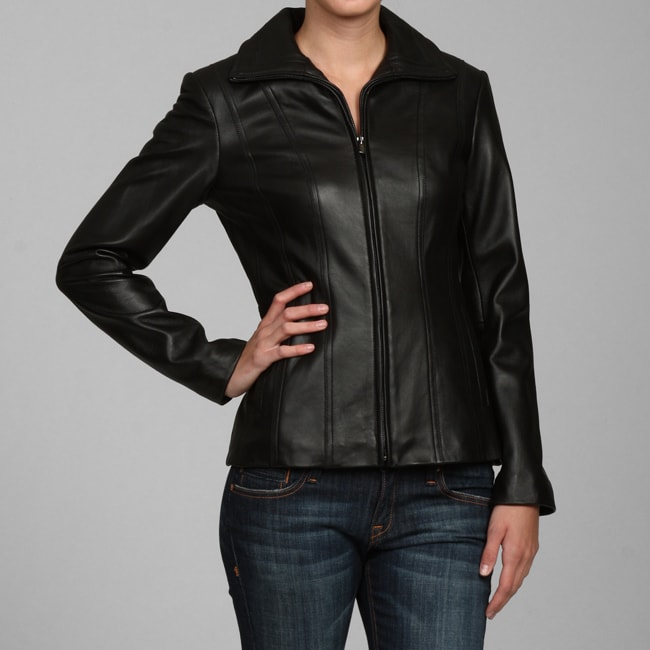 jones new york women u0026 39 s black leather jacket - 12754203 - overstock com shopping