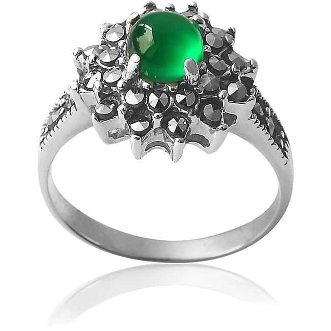 Sterling Silver Round Green Onyx and Marcasite Floral Ring (China)
