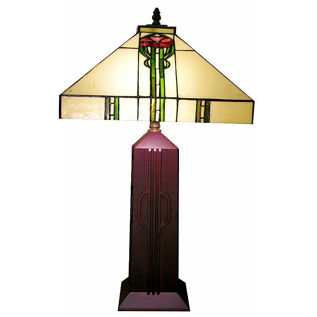 Tiffany-style Wooden Mission Table Lamp