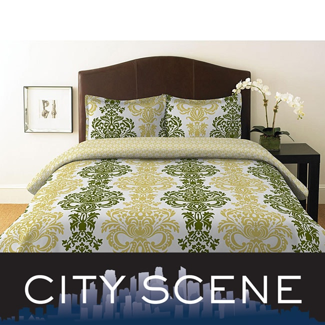 City Scene Damask Key Lime 3 Piece Mini Duvet Set