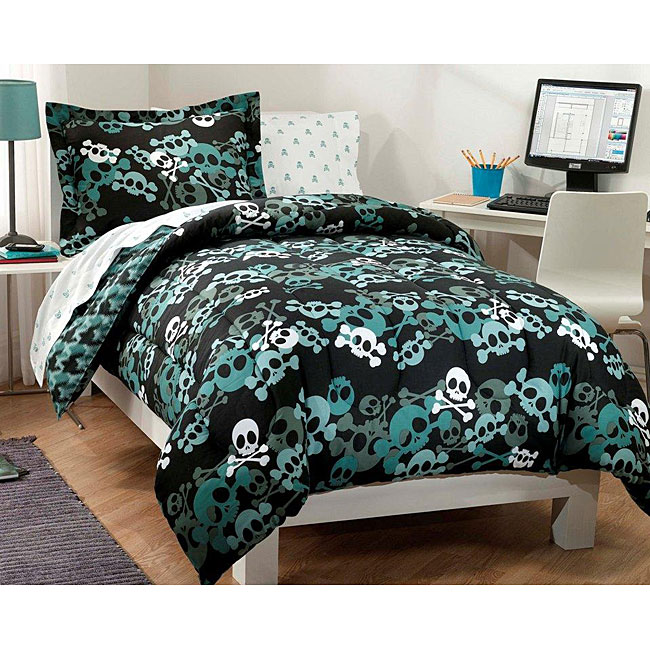 skulls 7 piece full size bed in a bag with sheet set 12882235 shopping great. Black Bedroom Furniture Sets. Home Design Ideas