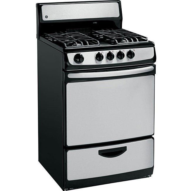GE 24-inch Gas Range and 3-cubic-foot Stainless Steel Oven