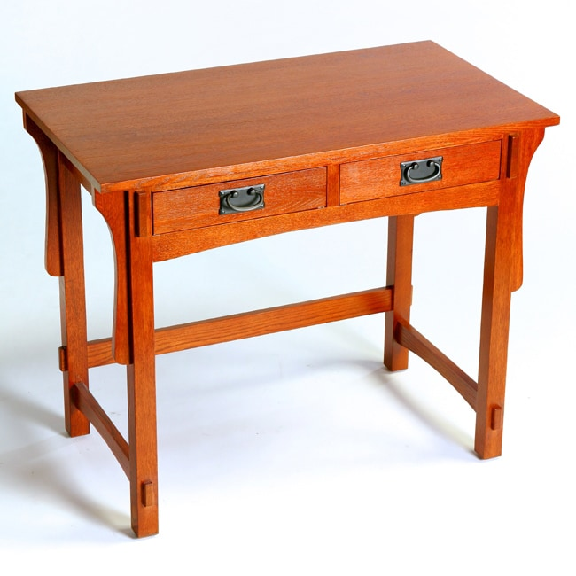 Mission Small Oak Solid Wood Desk - 12898088 - Overstock.com Shopping
