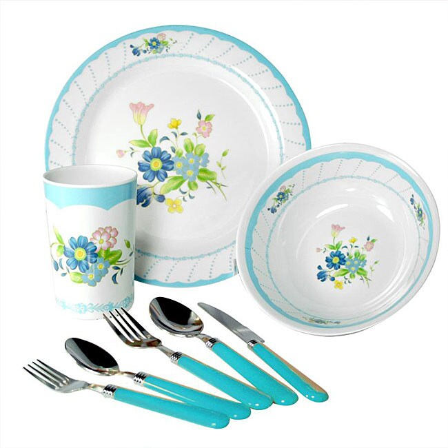 Alpine cuisine 39 blue floral 39 32 piece melamine dinnerware for Alpine cuisine flatware