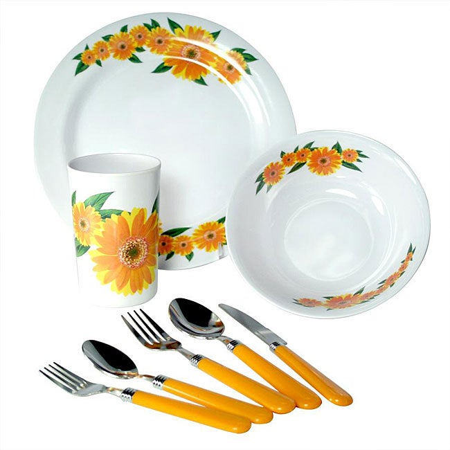 Alpine cuisine 39 yellow sunflower 39 32 piece melamine for Alpine cuisine flatware