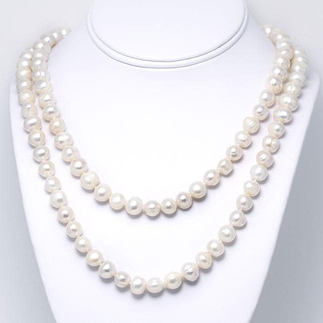 White Cultured Freshwater Pearl 60-inch Strand (9-10 mm)