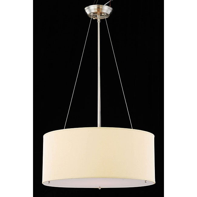 Chrome and Beige 3 Light Crystal Chandelier