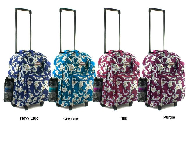 Tropical Flower 18-inch Rolling Carry On Backpack
