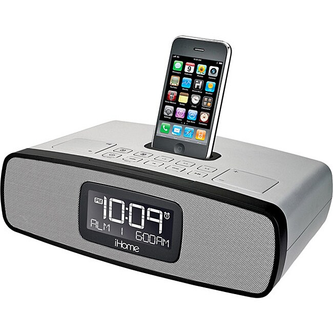 iHome Silver iP90 Dual Alarm Clock Radio with AM/FM Radio and iPod/iPhone Dock