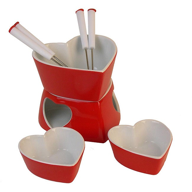 Danya B 9-piece Heart-shaped Fondue Set