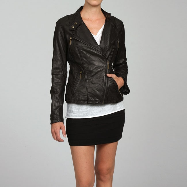 MICHAEL Michael Kors Asymetrical Zip Leather Motorcycle Jacket