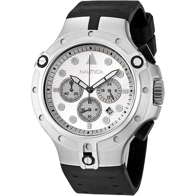 Nautica Men's Chronograph Black Rubber Strap Watch
