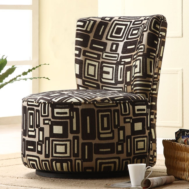 Moda Black/ Grey Print Round Swivel Chair