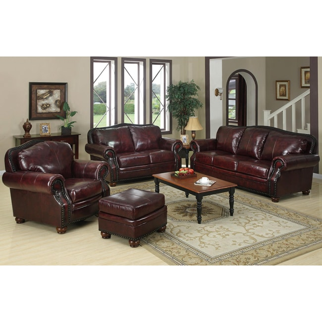Park lane 4 piece burgundy leather living room set for 4 piece living room furniture
