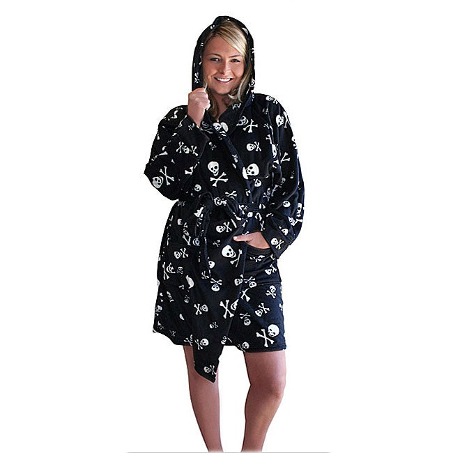 Women's Microplush Skull Print Hooded Short Robe