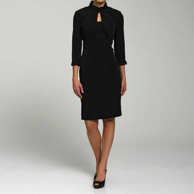 Adrianna Papell Womens Ruffle trim Bolero Jacket Sheath Dress Set