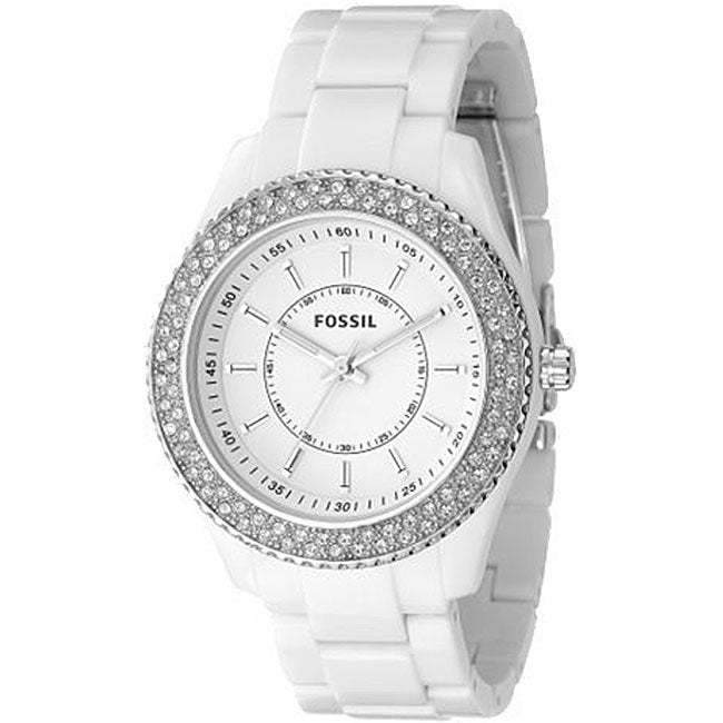 Fossil ES2444 Women's 'Stella' White Glitz Chrono Watch