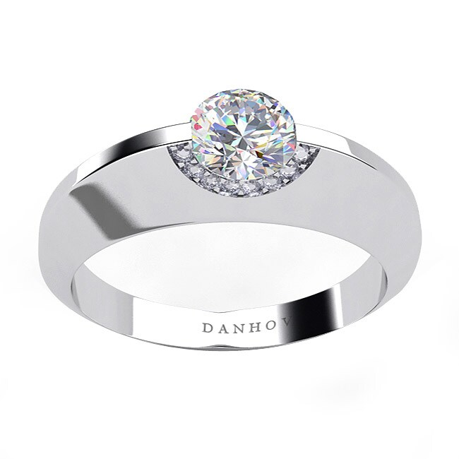 Danhov 14k Gold Cubic Zirconia and 1/10ct TDW Diamond Engagement Ring (G, VS2)