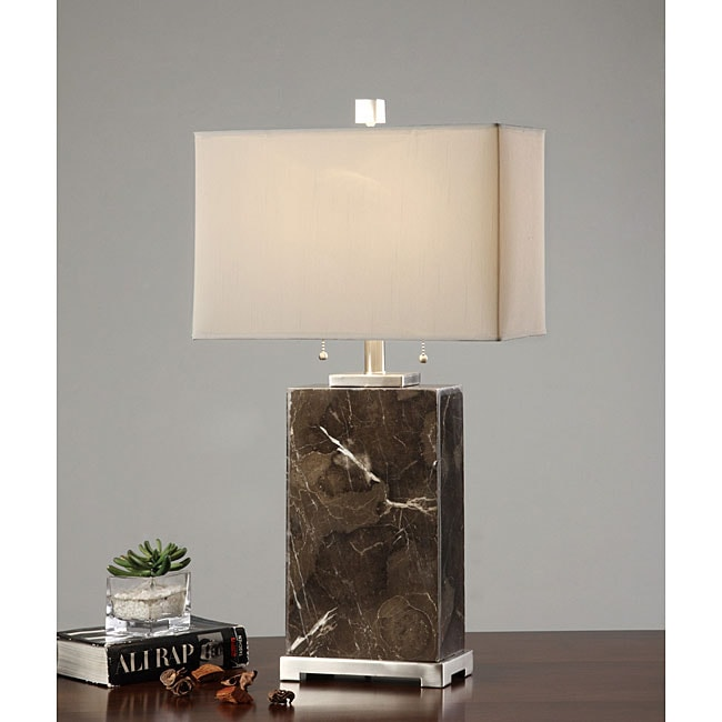 Indoor 2-light Tall Dark Marble Lamp