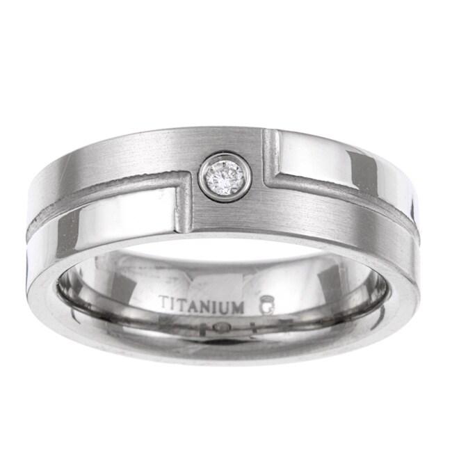 Titanium Men's Diamond Accent Bypass Design Band