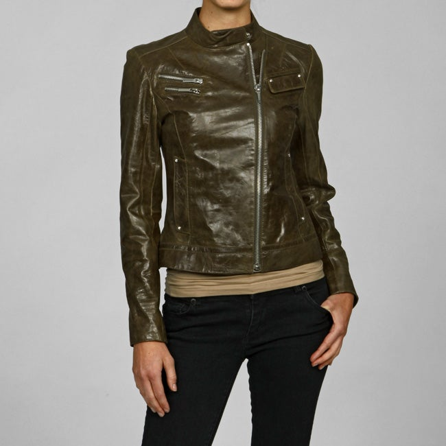 Laundry By Shelli Segal Women's Cracked Leather Jacket - Overstock