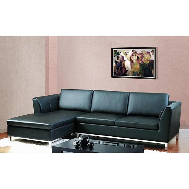 Monaco Modern Black Bonded Leather Sectional Sofa