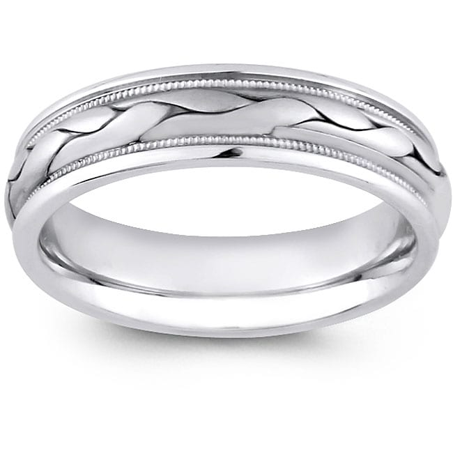14k White Gold Men's Hand-braided Comfort Fit Wedding Band (7 mm)