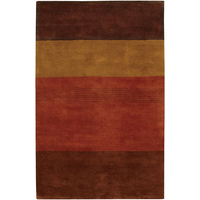 Hand-tufted Mandara Brown Stripe Wool Rug (9' x 13')