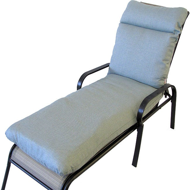 Canyon spa blue outdoor chaise lounge cushion overstock for Blue chaise lounge cushions