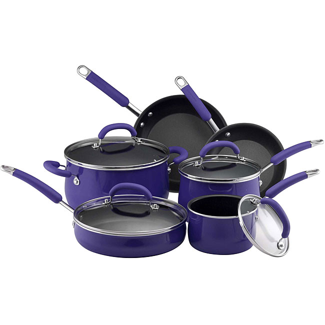 Rachael Ray Hard Enamel Blue Two Tone 10-Piece Cookware Set