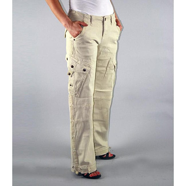 Institute Liberal Womens Beige Twill Cargo Pants