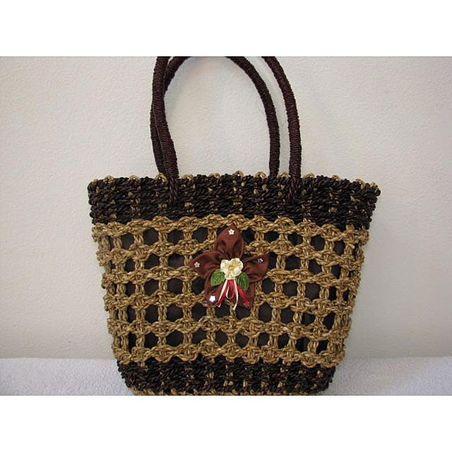 Handmade Agel Natural Single Flower Tote Bag (Indonesia)
