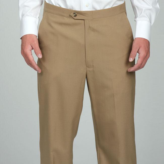 Sansabelt Men's Camel Flat Front Wool Trousers