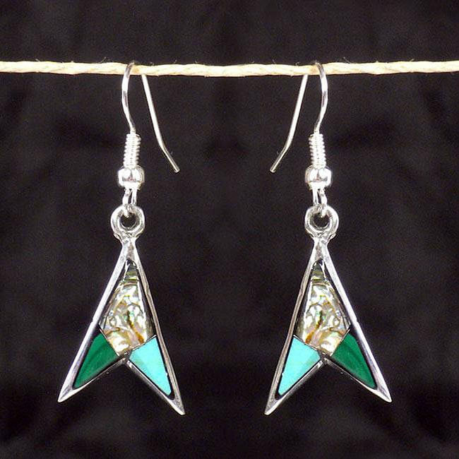 Silver Turquoise and Abalone Arrow Earrings (Mexico)